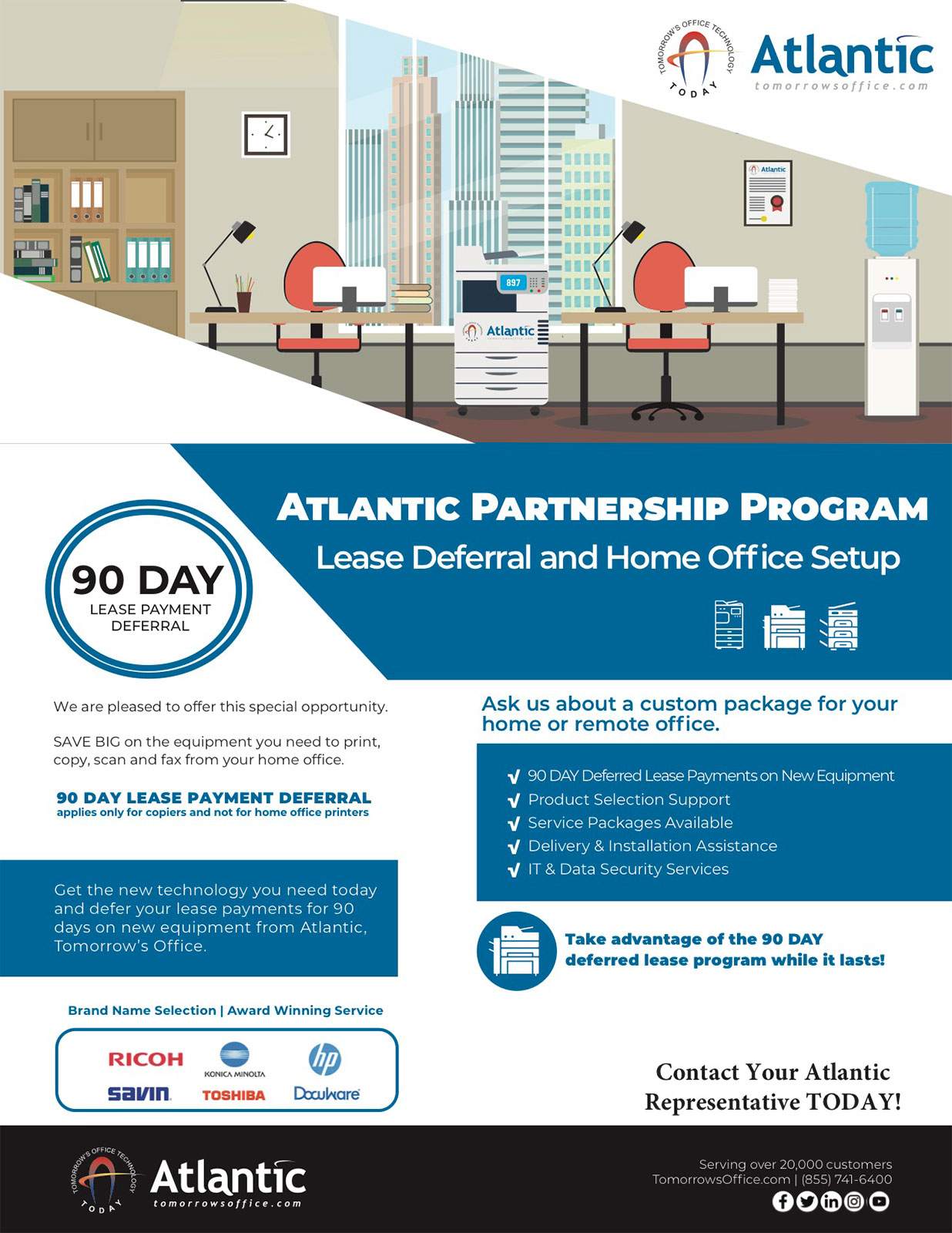 Partnership Program banner with text. Lease deferral and home office set up. 90 day lease payment deferral.