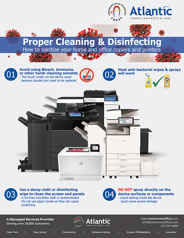 proper cleaning and disinfecting banner with text. how to sanitize your home and office copiers and printers.
