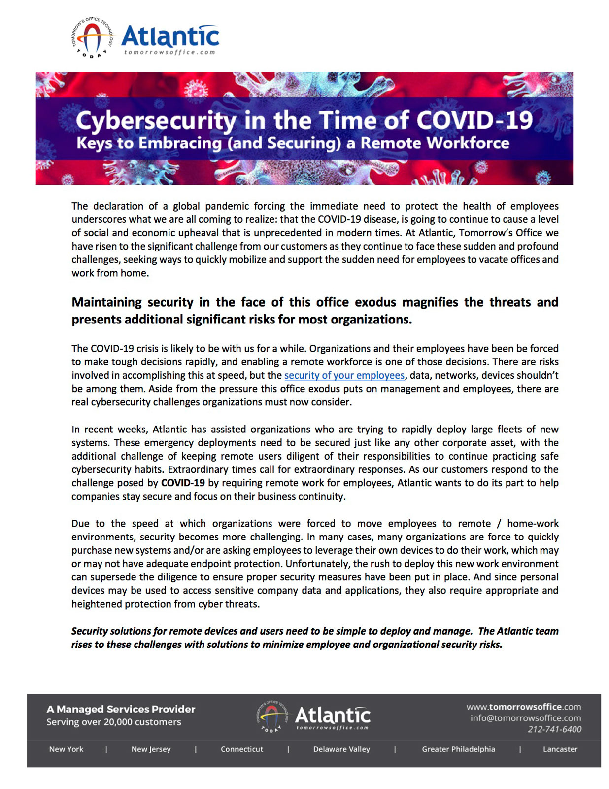 Cybersecurity in the time of COVID-19 that reads: keys to embracing and securing a remote workforce.