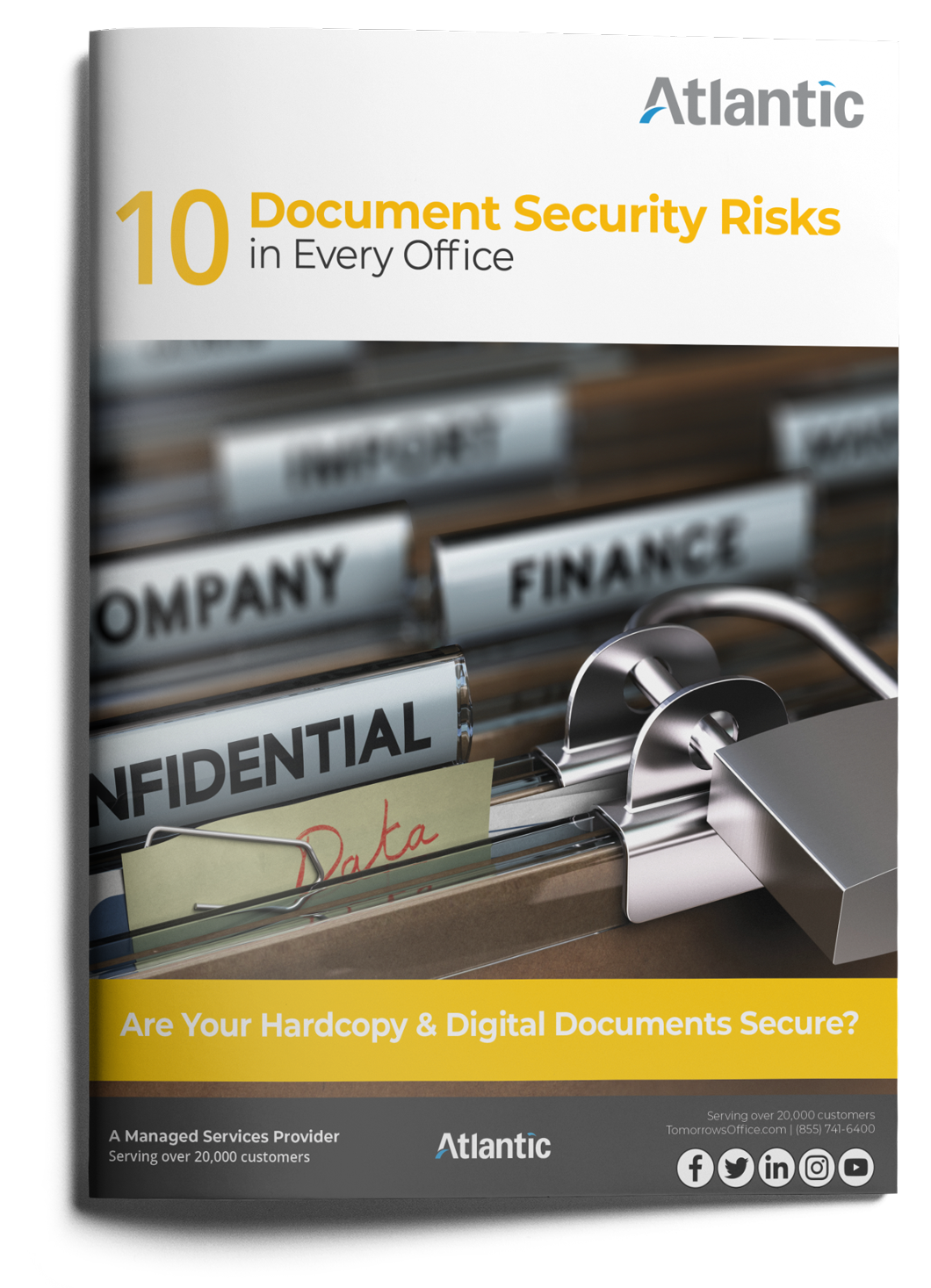 10 document security risks in every office ebook cover with text. Are your hardcopy and digital documents secure?