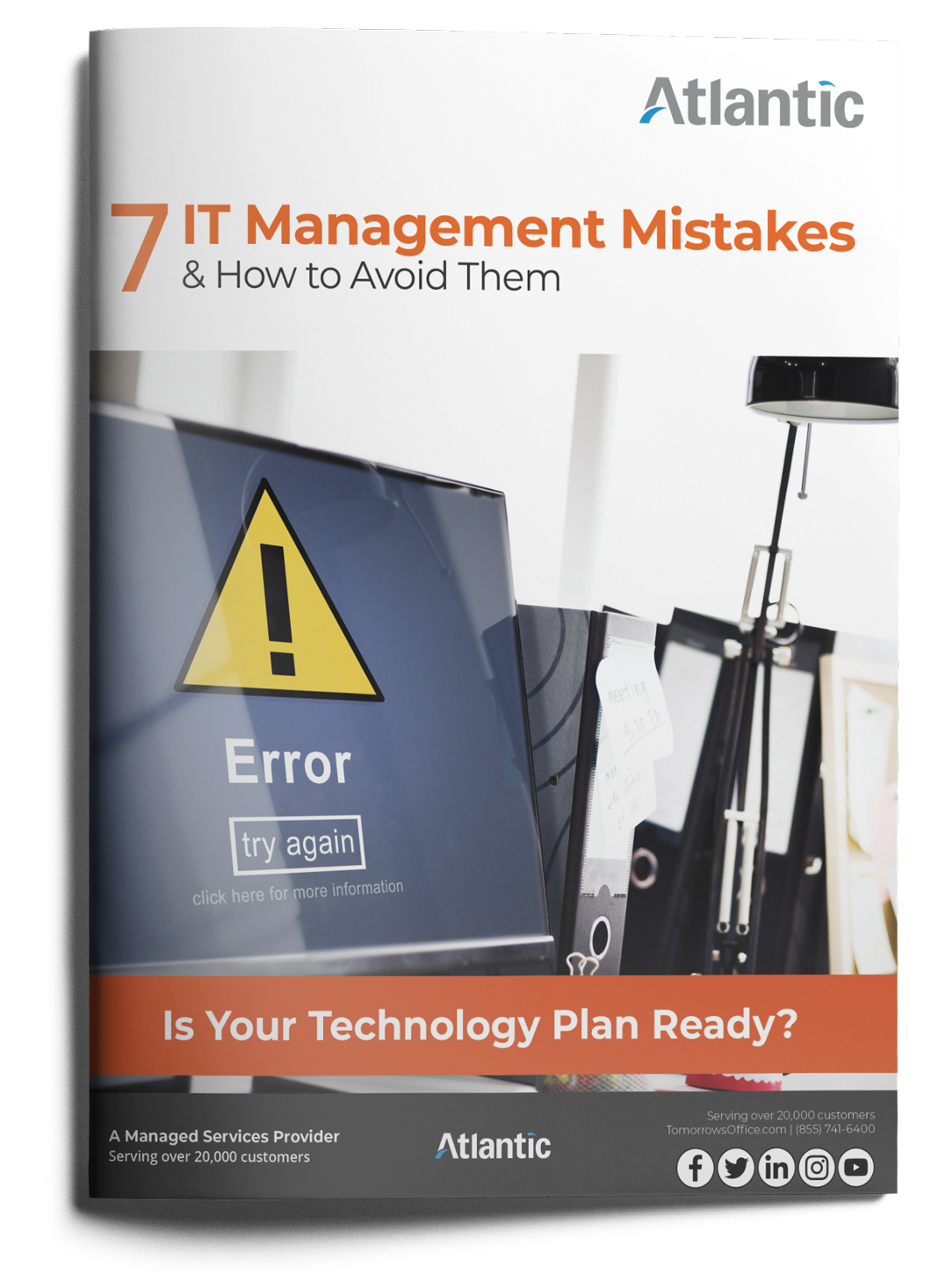7 IT management mistakes and how to avoid them ebook cover with text. Is your technology plan ready?