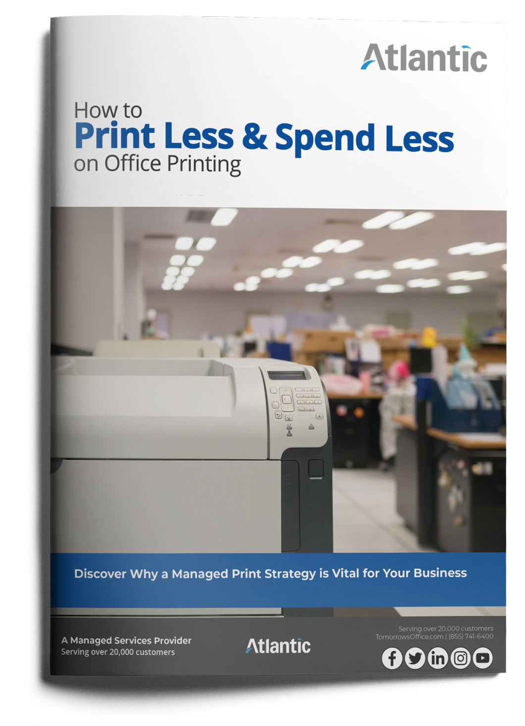 How to print less and spend less on office printing ebook cover with text. Discover why a managed print strategy is vital for your business.
