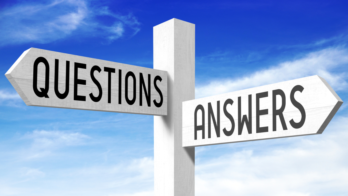 Sign with questions and answers on arrows